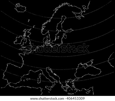 map of europe centered with white outline on black background - stock photo