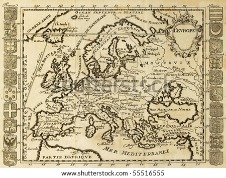 Map of Europe framed by national crests. May be dated to the beginning of XVIII sec. - stock photo