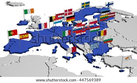 Map of Europe in Blue with Flags - stock photo