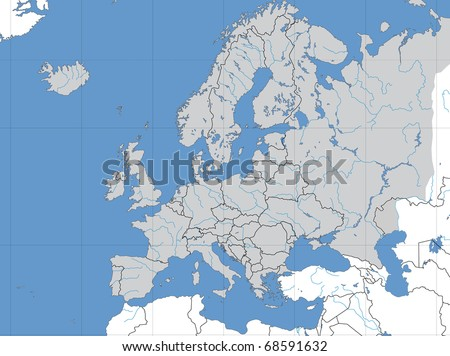 Map of Europe showing lines of longitude and latitude. - stock photo