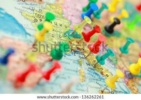 Map of Europe with cities marked. city on the world map marked buttons. - stock photo
