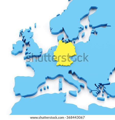 Map europe germany highlighted yellow 3 d stock illustration map of europe with germany highlighted in yellow 3d render gumiabroncs Choice Image