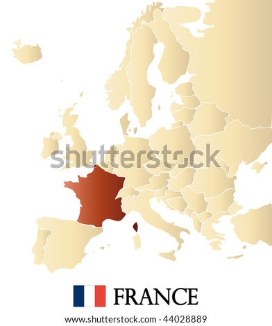map of europe with marked FRANCE