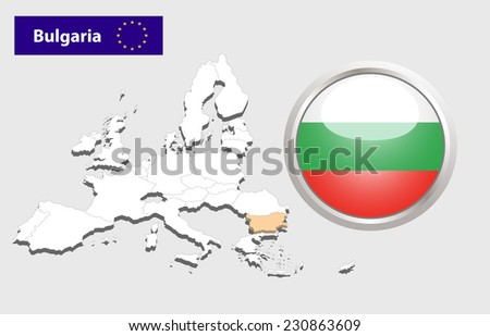 Map of European Union countries, with every state easy selectable and editable. Bulgaria.Vector - Bulgaria Flag Glossy Button - stock photo