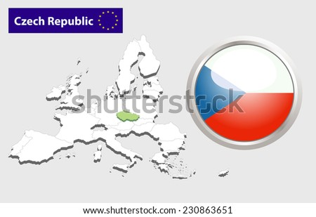 Map of European Union countries, with every state easy selectable and editable. Czech Republic. Vector - Czech Republic Flag Glossy Button - stock photo