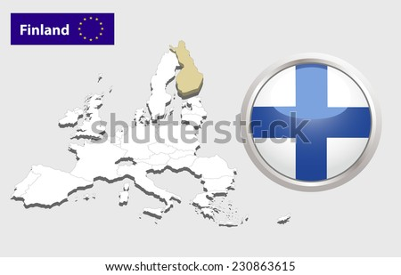 Map of European Union countries, with every state easy selectable and editable. Finland. Vector - Finland Flag Glossy Button - stock photo