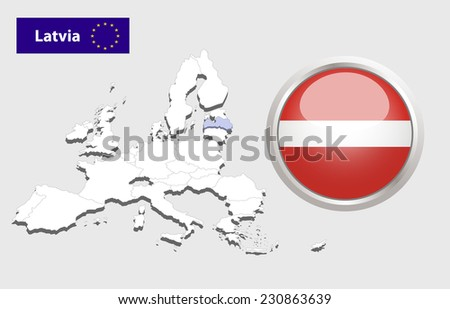 Map of European Union countries, with every state easy selectable and editable. Latvia.  - Latvia Flag Glossy Button - stock photo