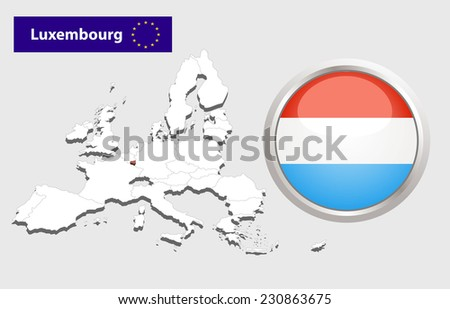 Map of European Union countries, with every state easy selectable and editable. Luxembourg.  - Luxembourg Flag Glossy Button - stock photo