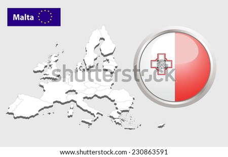 Map of European Union countries, with every state easy selectable and editable. Malta. Vector - Malta Flag Glossy Button - stock photo