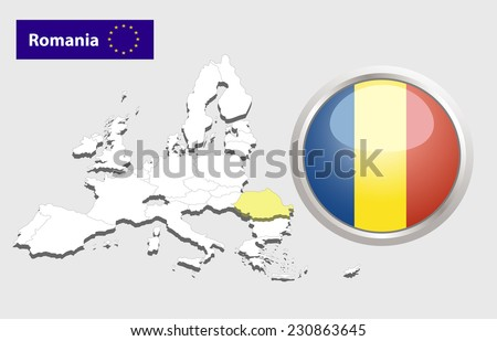 Map of European Union countries, with every state easy selectable and editable. Romania.  - Romania Flag Glossy Button - stock photo