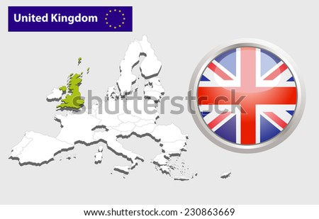 Map of European Union countries, with every state easy selectable and editable. United Kingdom.  - United Kingdom Flag Glossy Button - stock photo