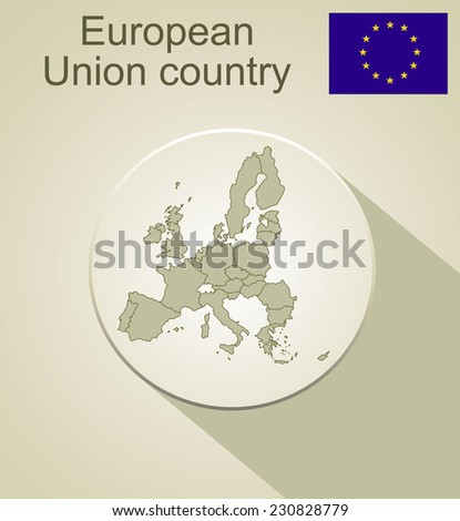 Map of European Union end flag. - stock photo