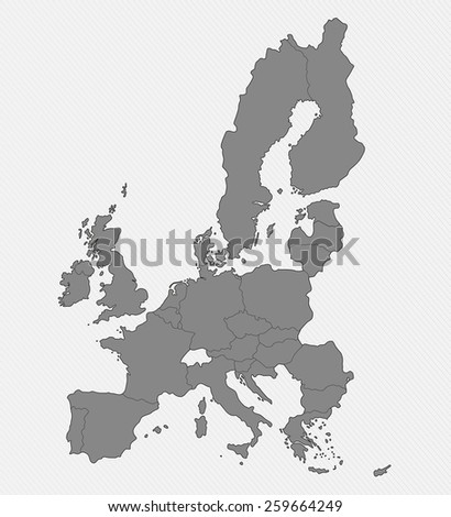 Map of European Union on gray background