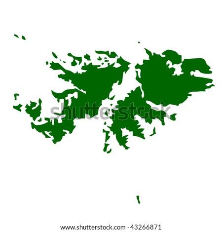 Map of Falkland Islands isolated on white background. - stock photo