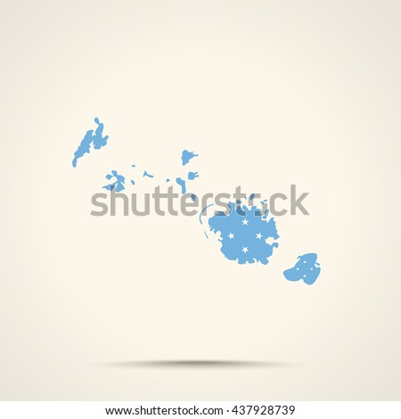 Map of Federated States of Micronesia in Federated States of Micronesia flag colors