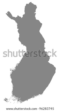 Map of Finland in gray
