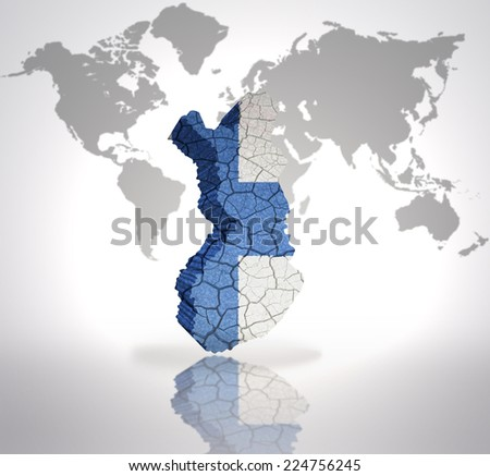 Map of Finland with Finnish Flag on a world map background - stock photo
