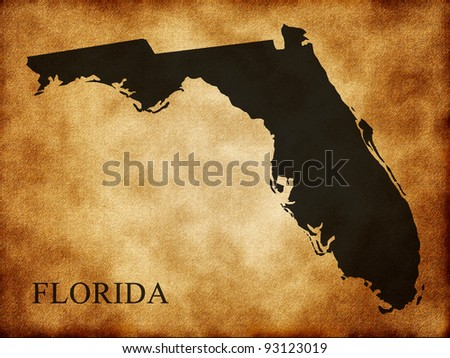 Map of Florida on the old background - stock photo