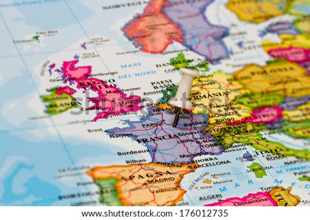 Map of France with a white pushpin stuck - stock photo