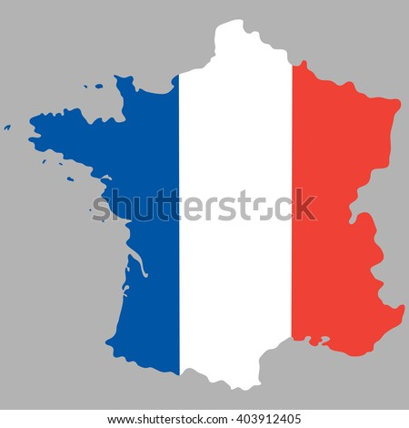 Map of France with an official national flag - stock photo