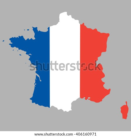 Map of France with an official national flag on a gray background - stock photo