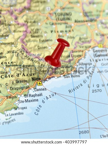 Map france pin set on nice stock photo royalty free 403997797 map of france with pin set on nice gumiabroncs Gallery