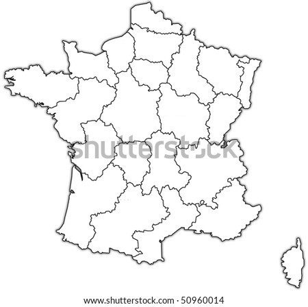 map of france with territories of administrative divisions