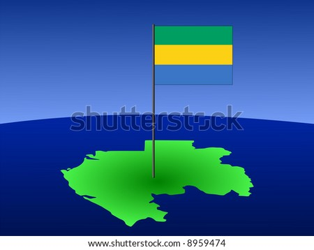map of gabon and their flag on pole illustration JPG