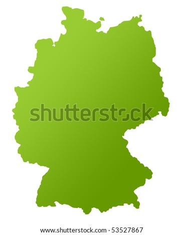 Map of Germany in green, isolated on white background. - stock photo