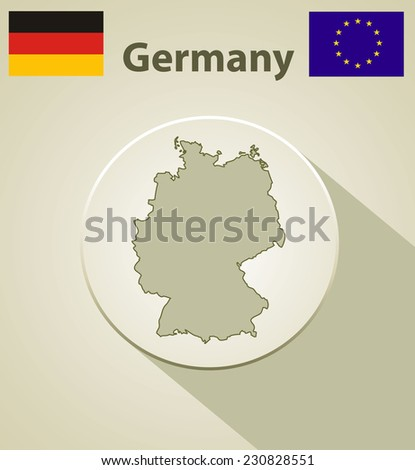 Map of Germany including: flag of Germany and European Union. - stock photo