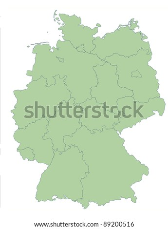 Map of Germany showing states; isolated on white background.