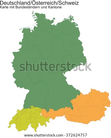 Map of Germany / Switzerland / Austria ... with provinces or cantons