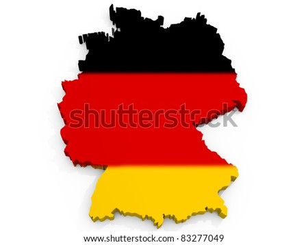 Map of Germany with flag Federal Republic of Germany - stock photo