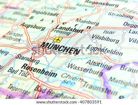 Map of Germany with focus on Munich           - stock photo