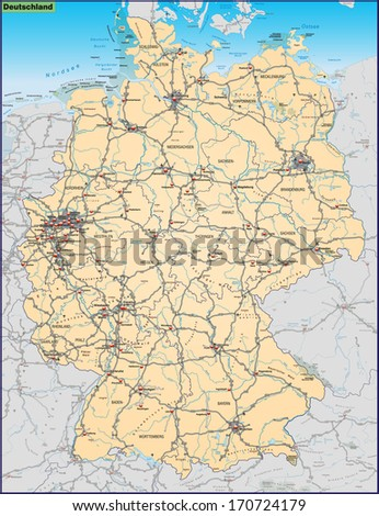 Map of Germany with highways in pastel orange