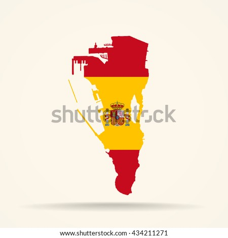 Map of Gibraltar in Spain flag colors - stock photo