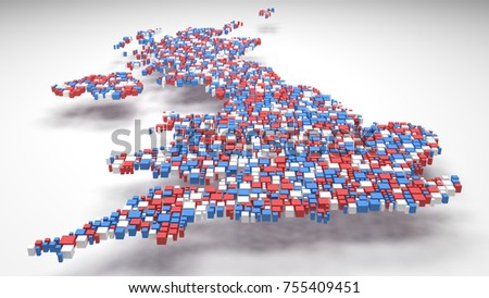 Map of Great Britain - Europe | 3D mosaic of little bricks - Flag colors