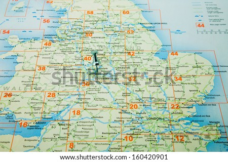 map of Great Britain with a board pin in Birmingham, - stock photo
