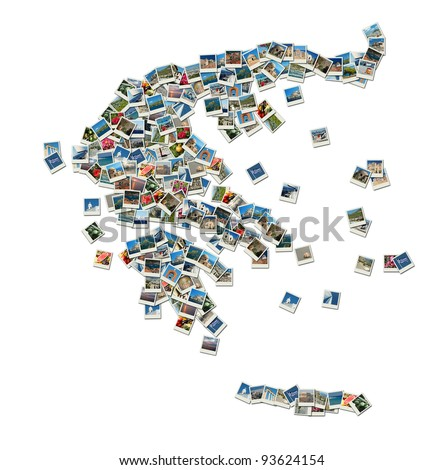 Map of Greece - collage made of travel photos with famous Greek landmarks, all photos are my own