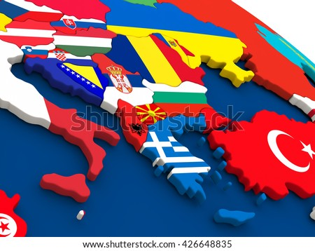 Map of Greece on globe with embedded flags of countries. 3D illustration. - stock photo