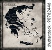 Map of Greece on the old background - stock vector
