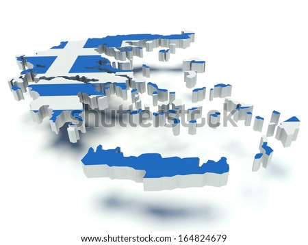 Map of Greece with flag colors. 3d render illustration. - stock photo