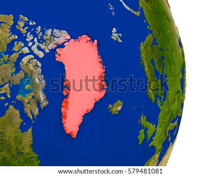 Map of Greenland in red on planet Earth. 3D illustration with detailed planet surface. Elements of this image furnished by NASA.