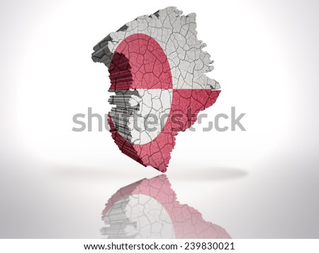 Map of Greenland with Greenlandic Flag on a white background - stock photo