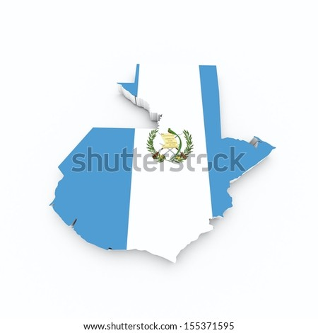 map of guatemala with flag on white isolated - stock photo