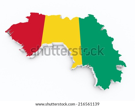 map of guinea with flag on white isolated - stock photo