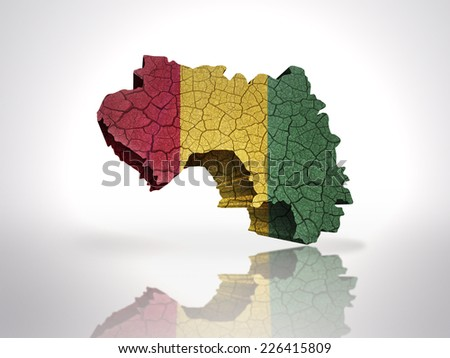 Map of Guinea with Guinea Flag on a white background - stock photo