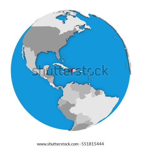 Map haiti highlighted red on globe stock illustration 551815444 map of haiti highlighted in red on globe 3d illustration isolated on white background gumiabroncs Images