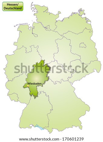 Map of Hesse with main cities in green