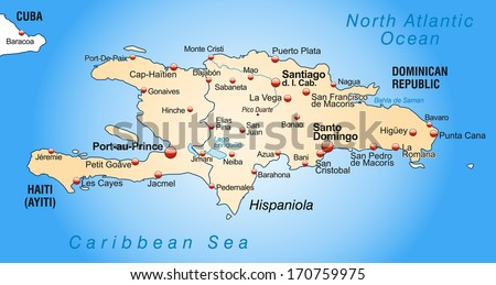 Map of Hispaniola as an overview map in pastel orange